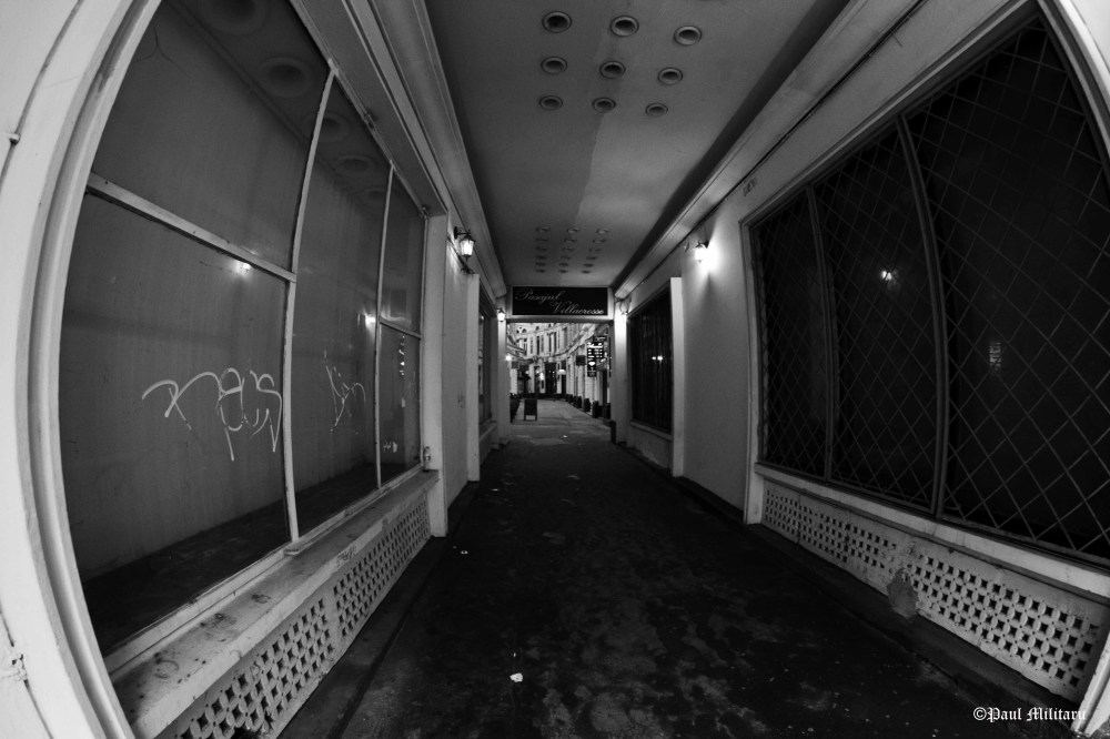 black & white - at the end of the tunnel seen by fisheye