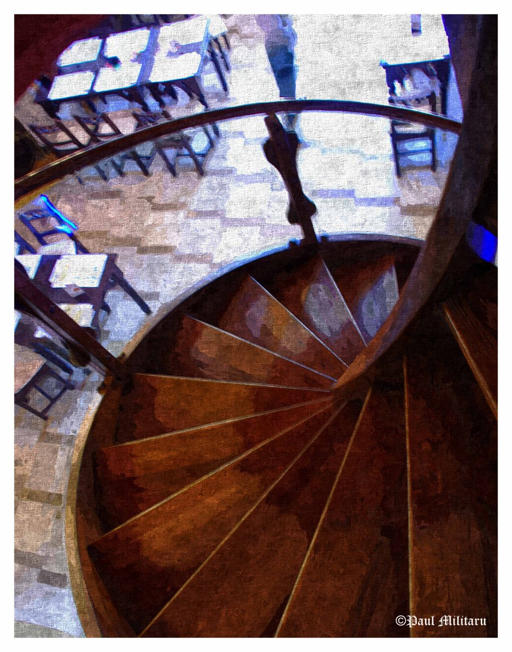 art - wooden circular staircase