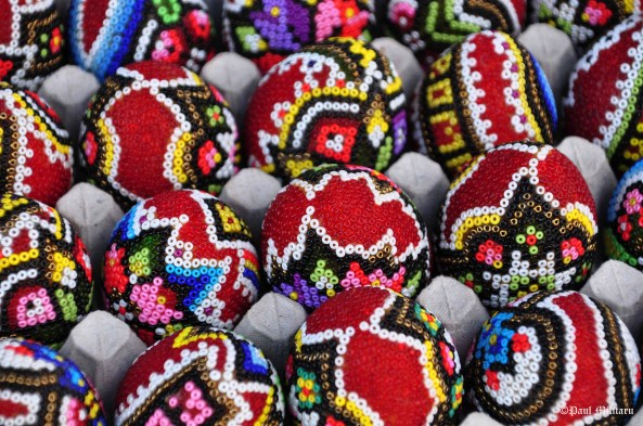 Romanian traditional eggs for Easter celebration handmade beaded