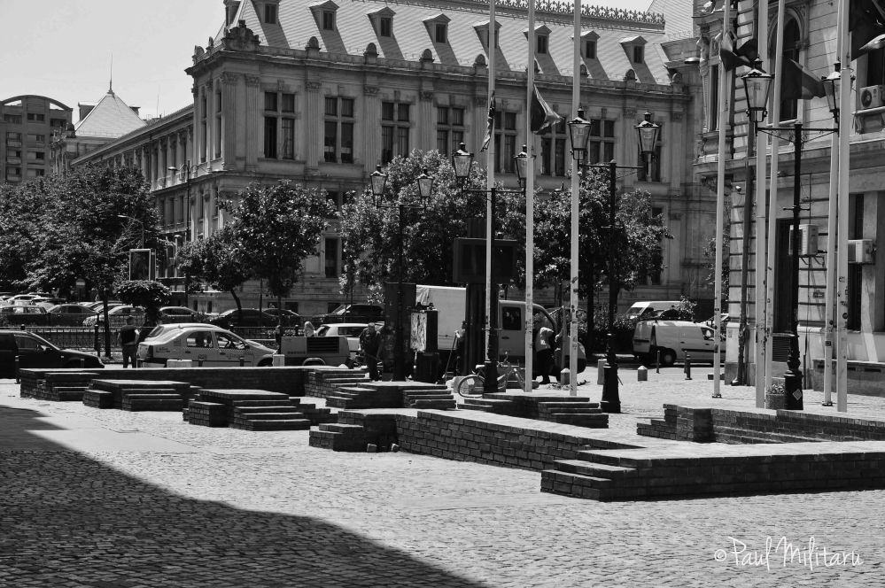 plaza in black and white
