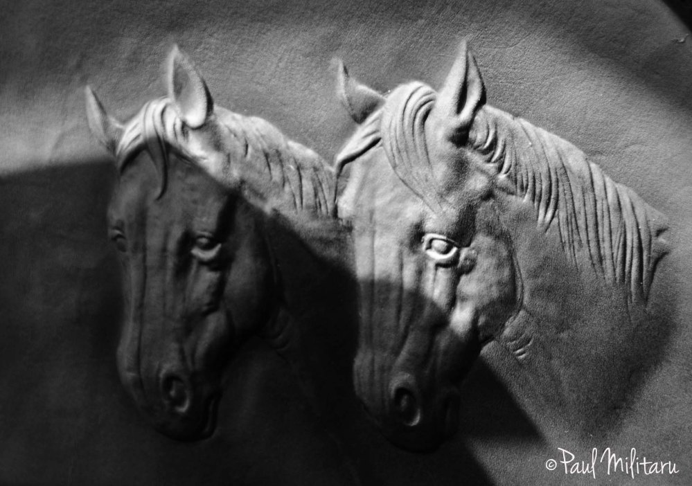 wood carving - two horses