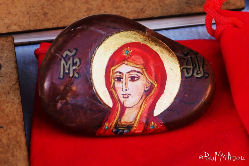 icon painted on the stone