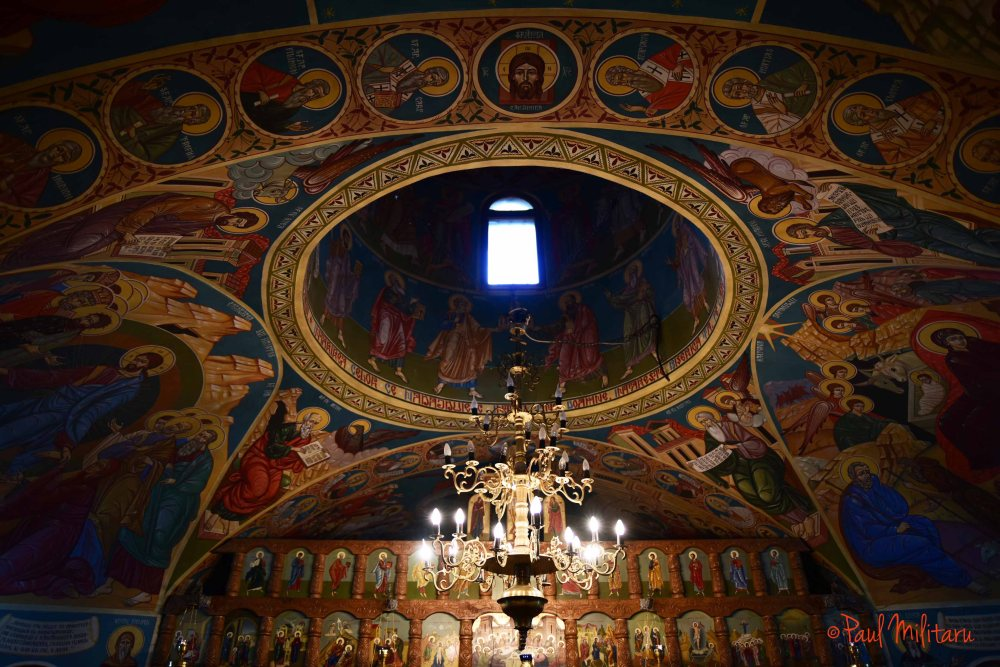 painted interior dome of ialomita cave church