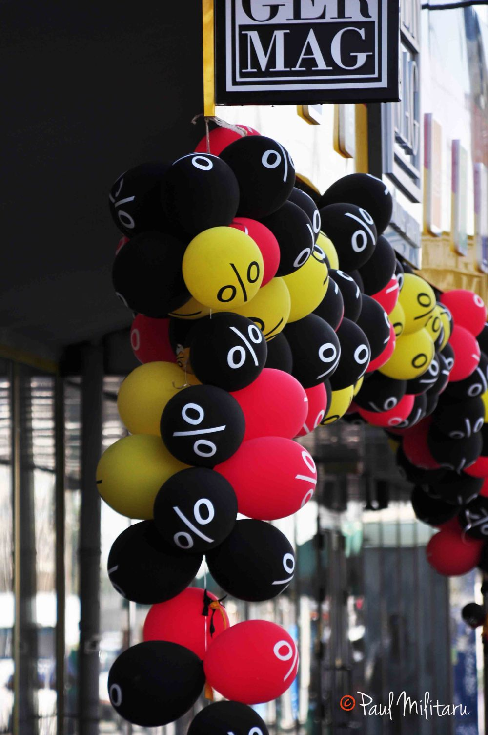 colored balloons - red, yellow and black