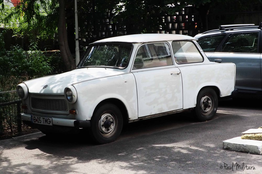 an old cardboard pressed on wheels - trabant