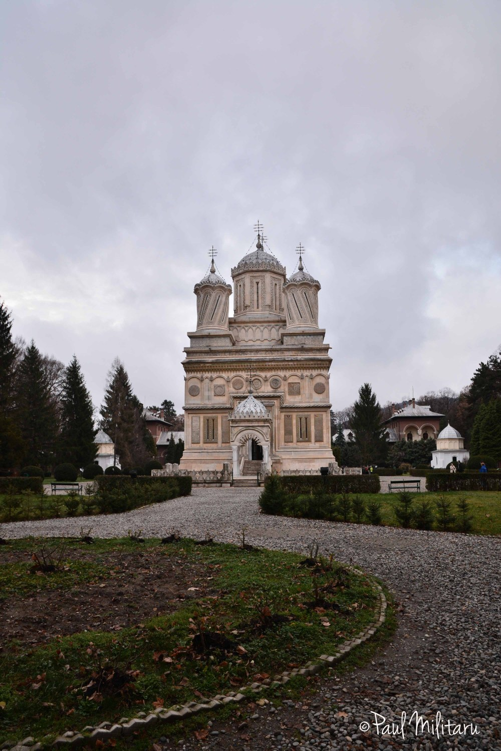 Curtea de Arges monastery in a storm day