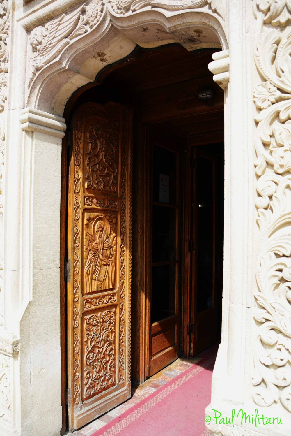 the carved door