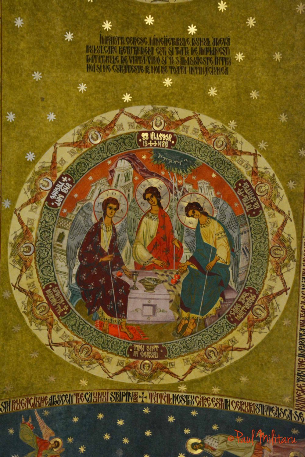 three saints in heaven - painting
