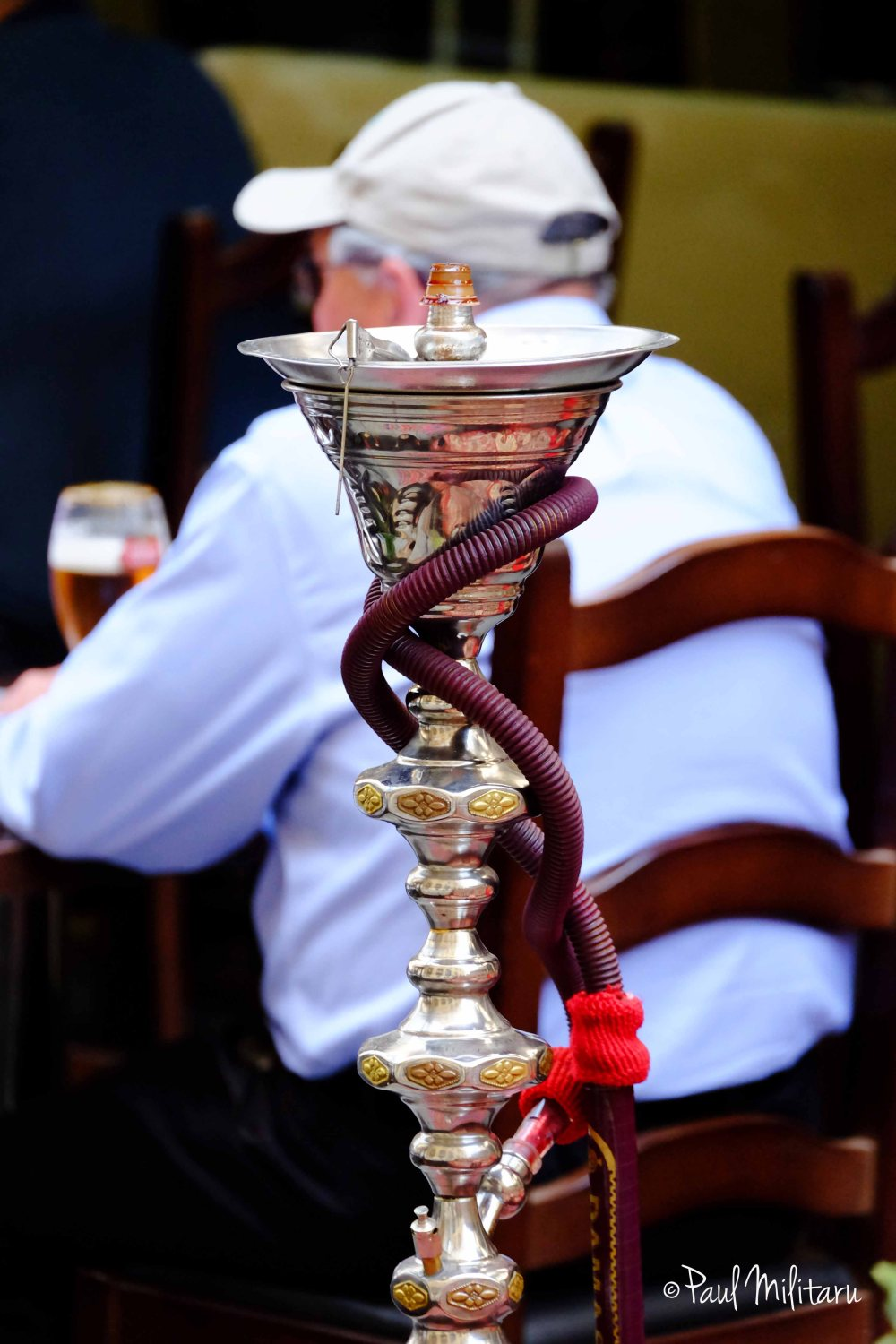 a hookah and a cold beer