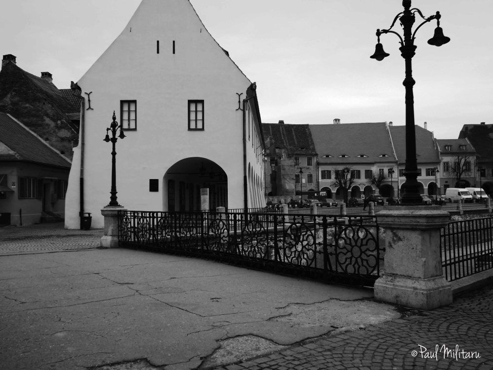 perspective in black and white - Bridge of Lies from Sibiu