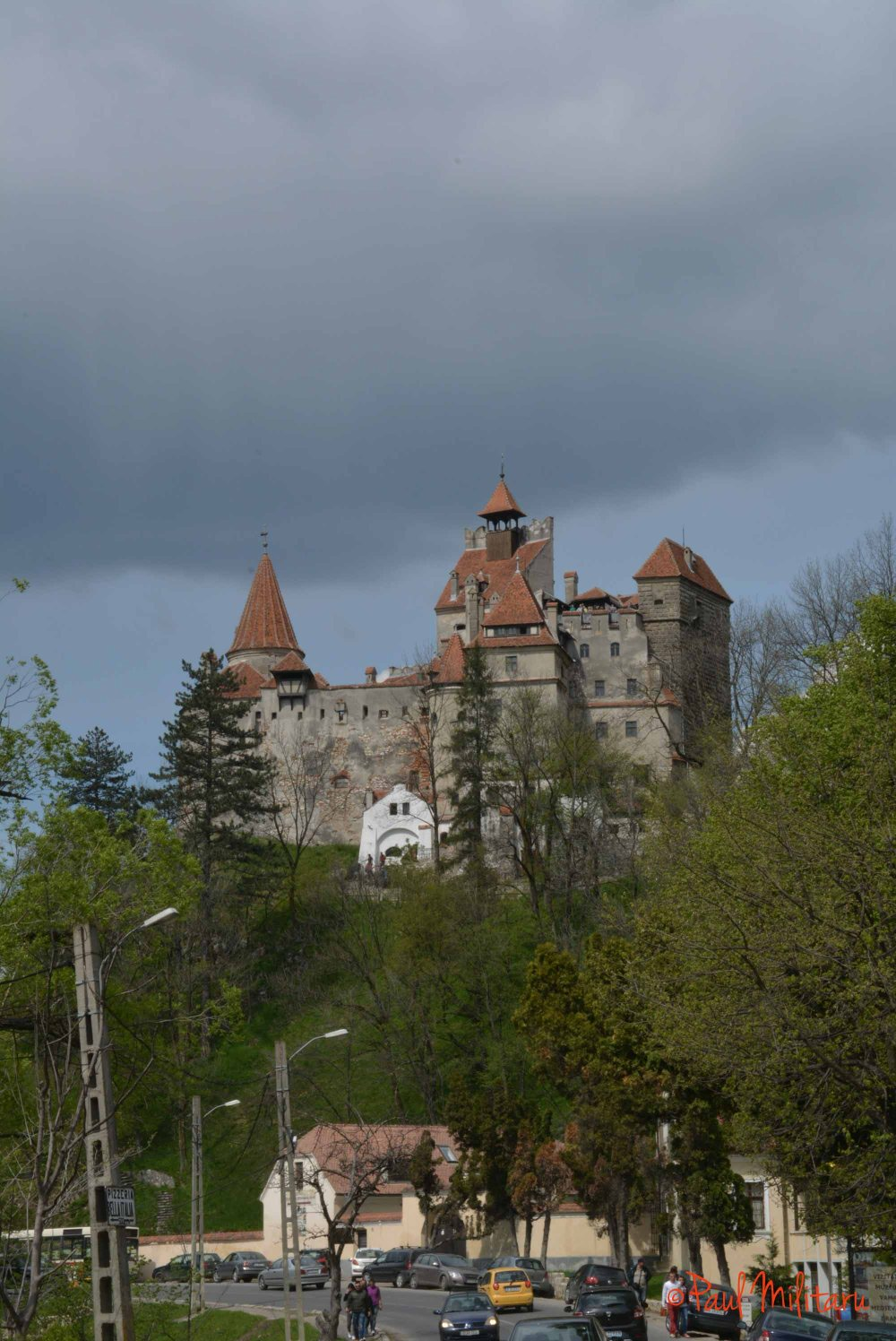black clouds above Bran Castle