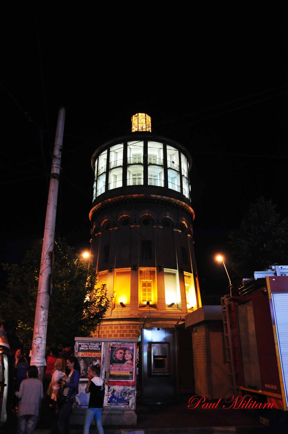 fire tower from Bucharest at night