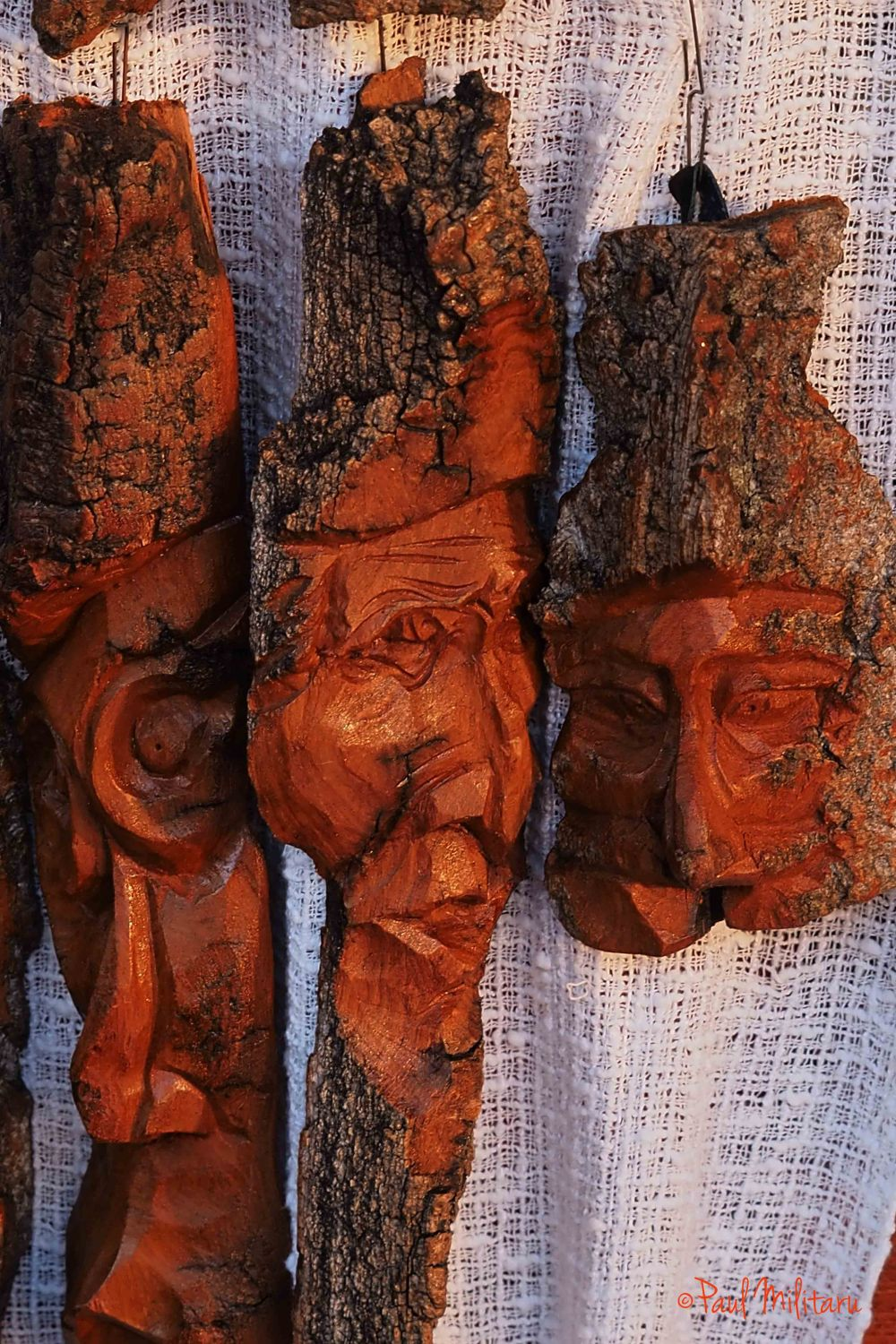 masks carved in tree bark